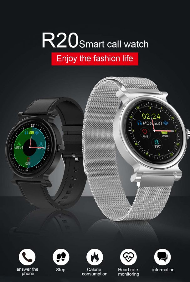R20 Smart Watch BT 5.0 Answer the phone siri Voice Heart Rate Blood Pressure Monitor Men Business Watch Tracker (10)