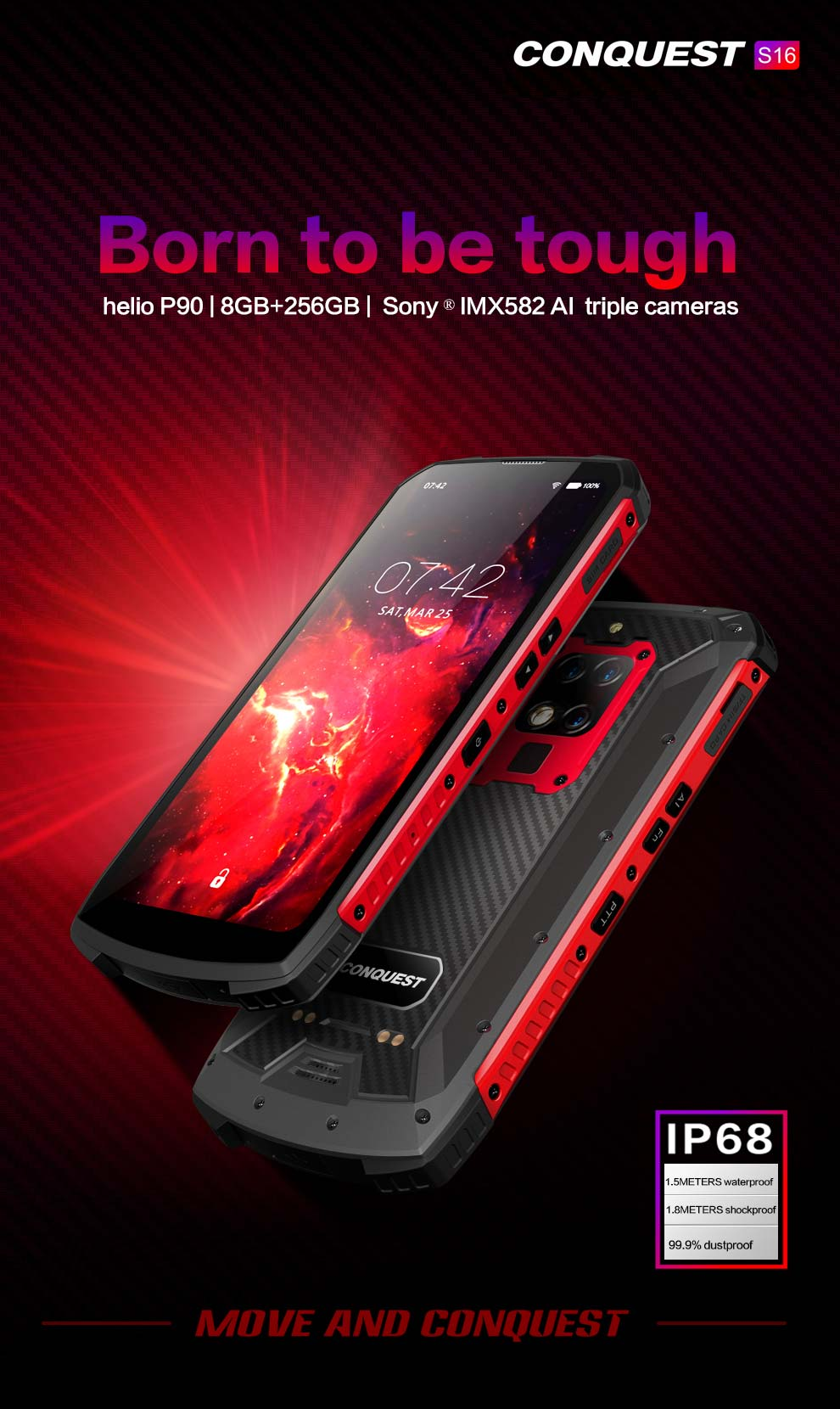 Conquest S16 Rugged Phone